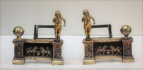 Antique Pair of Louis XVI Bronze Chenets Fireplace Andirons