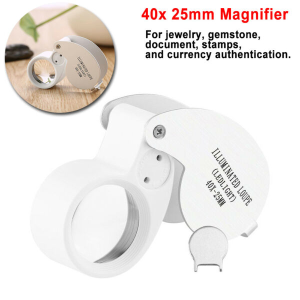 40x25mm Glass Magnifying Magnifier Jeweler Eye Powerful Jewelry Loupe Led Light
