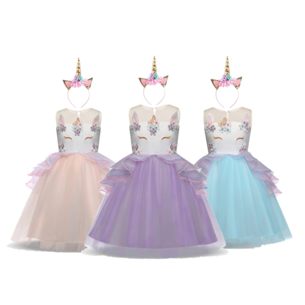 DH Girls Unicorn Princess Costume Pageant Party Birthday Dress with Headband $17.98