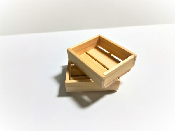 Dollhouse Miniature 2 Small Wood Crates for Fruits or Vegetables 1:12 Unfinished