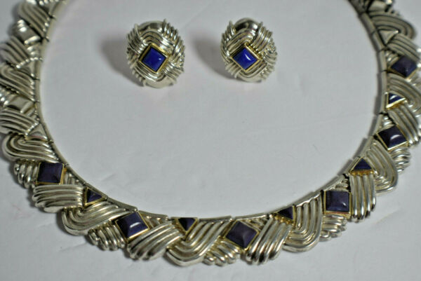 Tiffany & Co Lapis Lazuli Rare Vintage Necklace Gold Sterling Silver 18