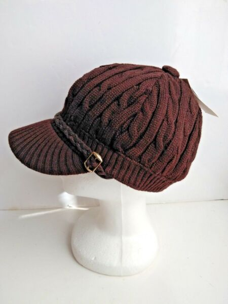 Knitted Dark Brown Newsboy Cab Driver Hat With Side Buckle