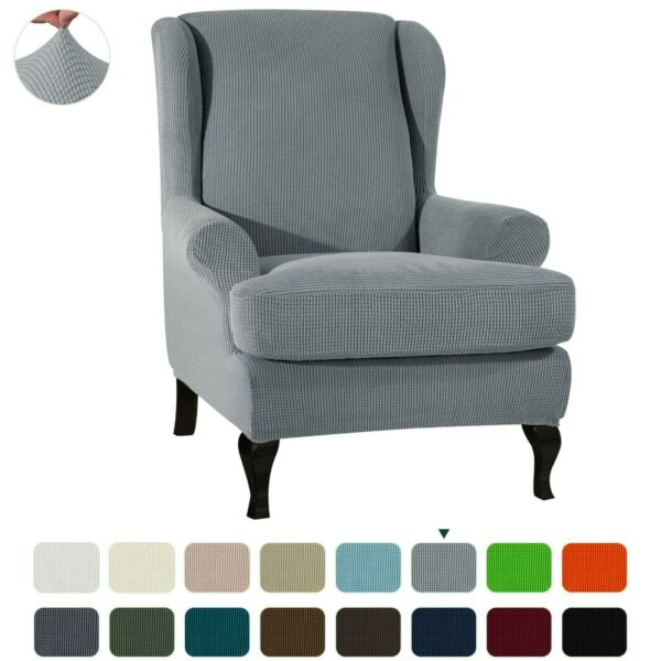 Subrtex Elastic Chair Cover Wing Back Arm Chair Sofa Slipcover 2Pcs Protector $38.24