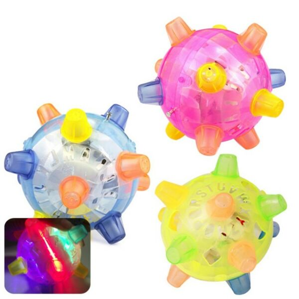 Dog Cat Puppy Pet LED Squeaky Chewing Ball Jumping Joggle Crazy Ball Kids Toys