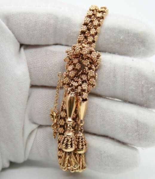 18K ROSE GOLD 2 ROW ESTATE KNOTTED BRACELET W TASSELS & SAFETY CHAIN. 7 14