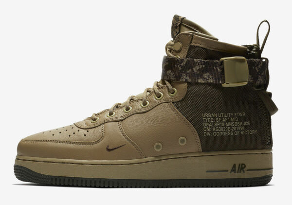 Nike SF AF1 MID Air Force 1 Men's Size 13 Shoes 917753-201 Olive Cargo Khaki NEW