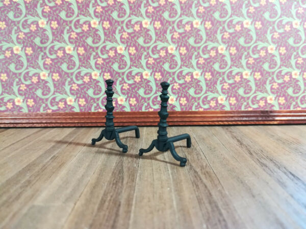 Dollhouse Miniature Black Fireplace Andirons with Bar for Wood Metal 1:12 Scale