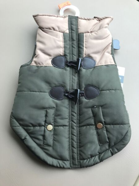 Friends Forever OLIVE AND TAN Fleece Lined JACKET Puppy Dog medium $22.00
