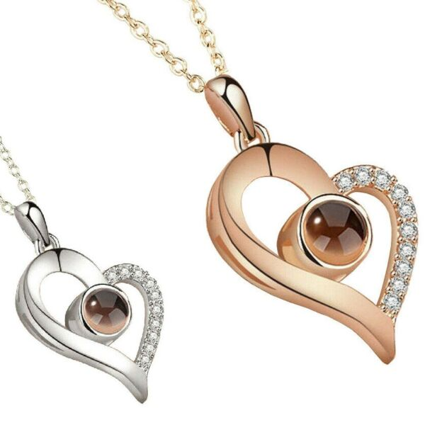 Silver RoseGold Heart 100 Languages Light I Love You Projection Pendant Necklace $7.25