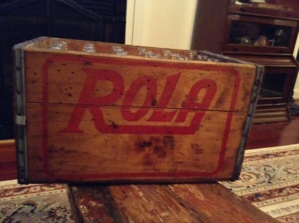 Vintage Rola Cola Erie PA Wooden Crate With 24 Bottles