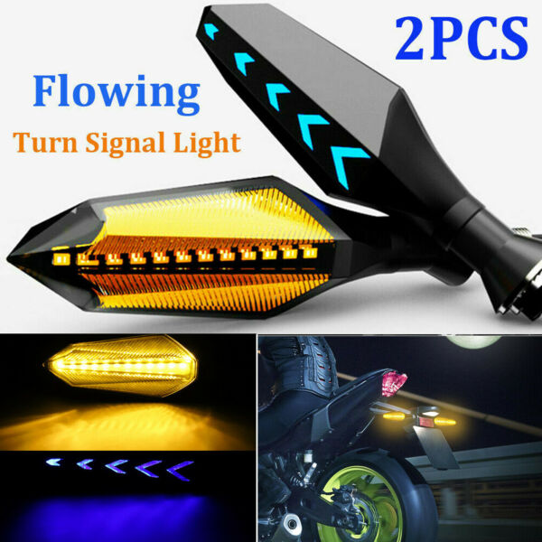 2x Motorcycle LED Turn Signal Lamp Sequential Flowing Indicator Lights Amber 12V