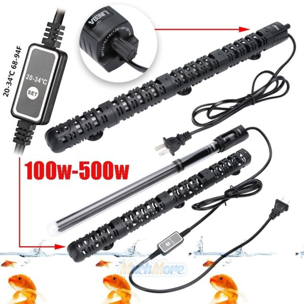 100 500W Aquarium Heater Anti Explosion Submersible Fish Tank Water Adjustable $31.61