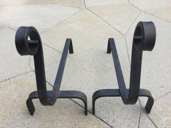 1960s Black Wrought Iron Andirons Hand Forged UNUSED Fire Dogs 16 Inch Fireplace