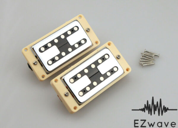 Chrome Filtertron Style Humbucker Guitar Pickup Set with Cream Mounting Rings $24.99