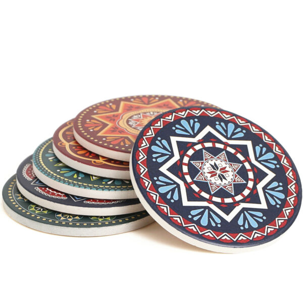 ENKORE Ceramic Coaster Set of 6 Mandala Style Protect Table from Marks and Spill