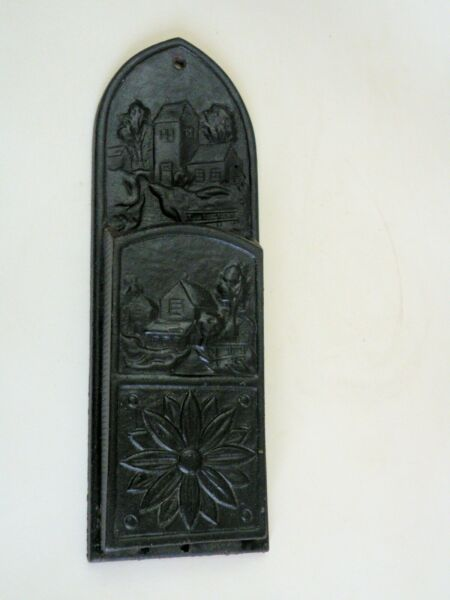 Vintage CAST IRON Fireplace MATCH HOLDER  - COTTAGE Scene 10.5