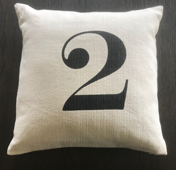 POTTERY BARN Number 2 TWO Typography Pillow Linen Cover Insert 18quot; x 18quot; RARE