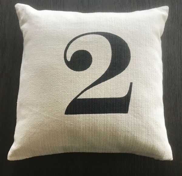 POTTERY BARN Number 2 TWO Typography Pillow Linen Cover Insert 18quot; x 18quot; RARE $39.95