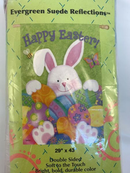 Evergreen Easter Bunny & Eggs  Double Sided Suede  House Flag 29