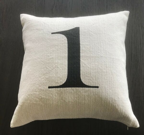 POTTERY BARN Number 1 ONE Typography Pillow Linen Cover Insert 18quot; x 18quot; RARE