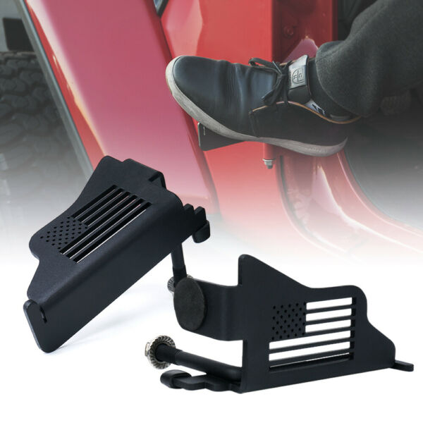 Xprite Front Black Steel Foot Pegs with U.S. Flag for 2018 2020 Jeep Wrangler JL