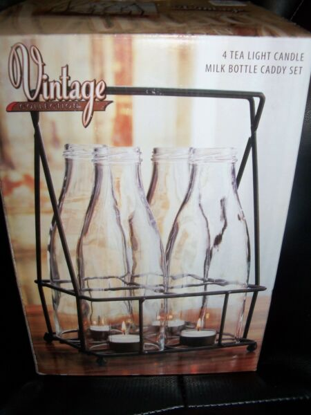 VINTAGE 4 TEA LIGHT CANDLE MILK BOTTLE CADDY SET NEW