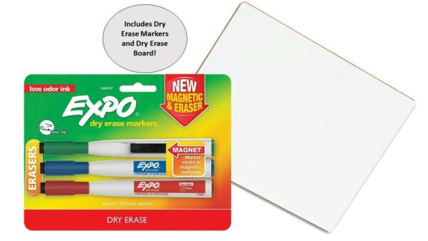 Expo Dry Erase Markers 3pk. with Magnetic Clip + 8