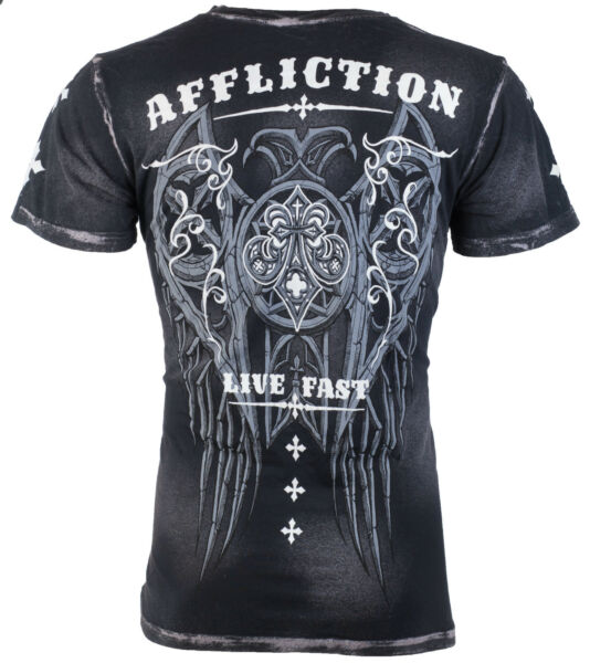 AFFLICTION Mens T-Shirt ROYALE Wings BLACK Tattoo Motorcycle Biker MMA $58