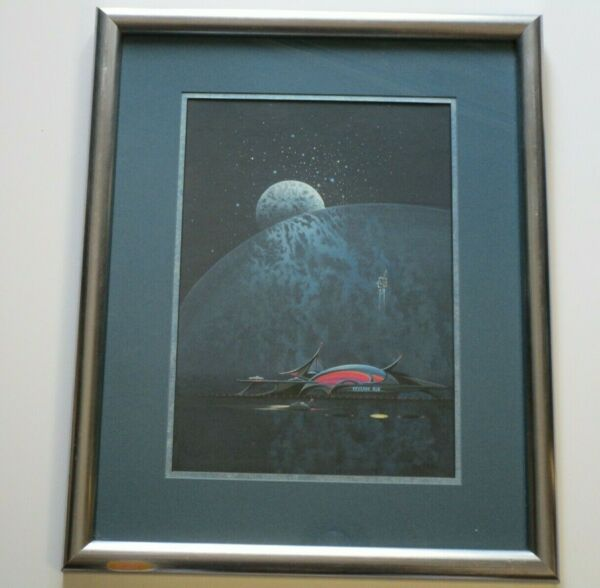 ORIGINAL DONALD A PETERS VINTAGE SCI FI PAINTING SPACE CRAFT ALIEN PLANET ASTRO