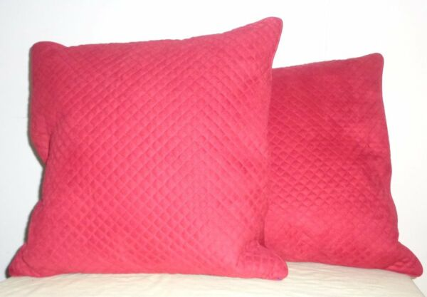 Pair 2 Red Quilted Feather Pillows w Zip Microfiber Covers Square Throw Toss $27.99