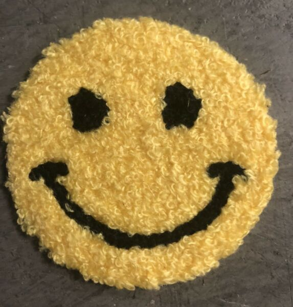 50 PCS IRON ON HEAT TRANSFER YELLOW CHENILLE HAPPY FACE APPLIQUES