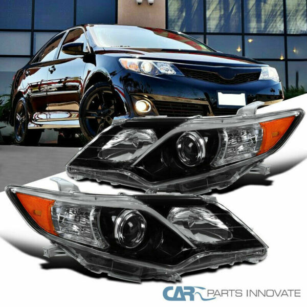 For 12-14 Toyota Camry SE Pearl Black Projector Headlights Headlamps Left+Right