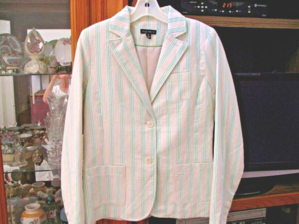 Willi Smith Lined LS Jacket Blazer Cream Color With Turq. Green