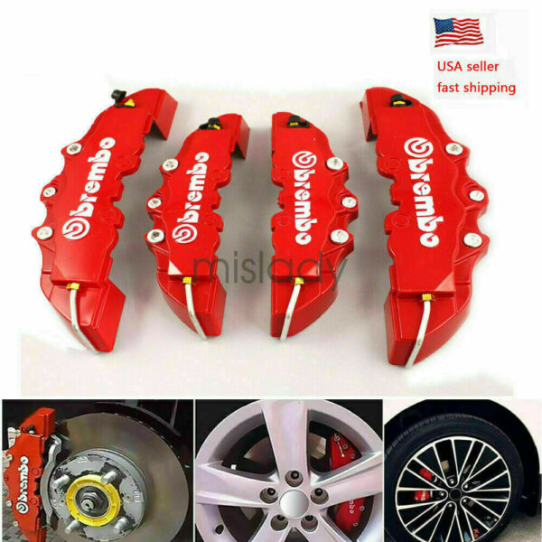 4Pc 3D Style Car Universal Disc Brake Caliper Covers Front & Rear Kit RED NEW