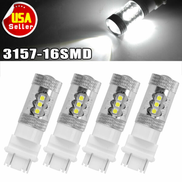 4X 3157 White16 SMD 3030 LED Reverse Back Up Light Bulbs 3057 3155 3047 4157 80W