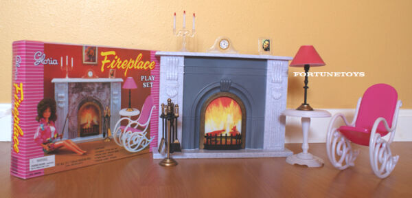 NEW GLORIA DOLL HOUSE FURNITURE FIREPLACE (96006) PLAYSET wRocking Chair