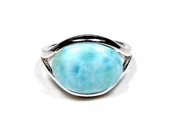 AAA Genuine Dominican Larimar Inlay 925 Sterling Silver Ring Sz 6-8