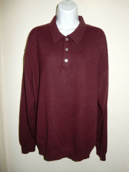 MENS TASSO ELBA 100%CASHMERE BURGUNDY 3 BUTTON POLO LONG SLEEVES SWEATER L