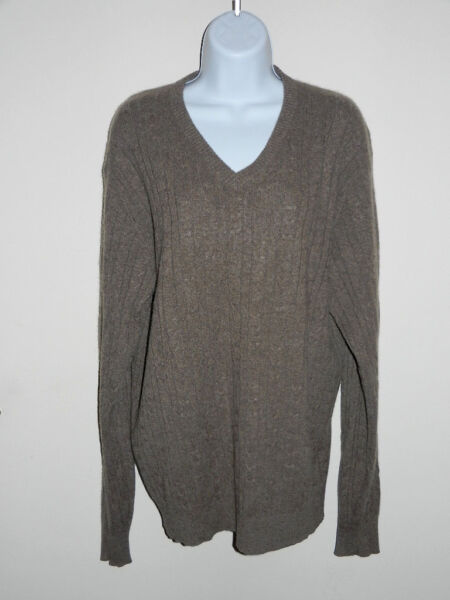 MENS TASSO ELBA 100% CASHMERE MEDIUM BEIGE GRAY TINT V-NECK CABLE KNIT SWEATER M