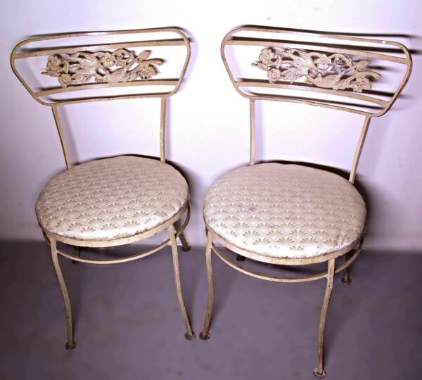 Vintage Pair 2 Iron Bird Design Painted Patio Outdoor Side Chairs Set Antique