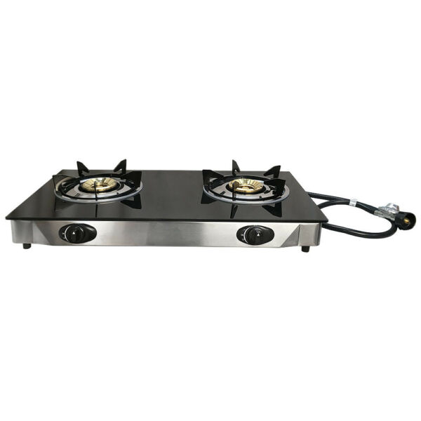 Deluxe Propane Gas Range 2 Burner Stove Tempered Glass Cooktop Auto Ignition
