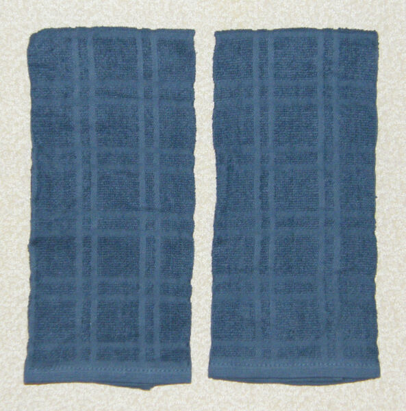 2 Solid Country BLUE Plaid Windowpane Terry Cloth Kitchen Towels 16