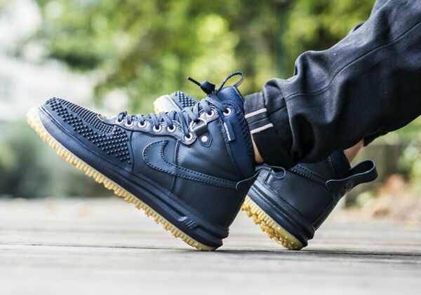 Nike Lunar Air Force 1 Duckboot OBSIDIAN BLUE NAVY GUM BOTTOM 805899-400 BOOTS