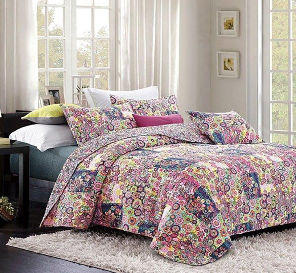 Virah Bella Collection FEATHERS amp; FOILAGE Printed Quilt Set FULL QUEEN