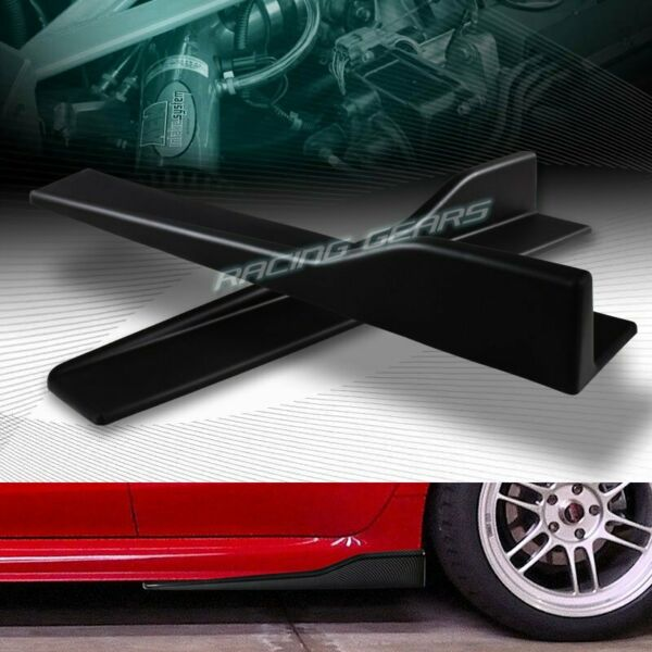 2PC UNIVERSAL BLACK SIDE SKIRT ROCKER SPLITTERS WINGLET CANARD DIFFUSER 23.5