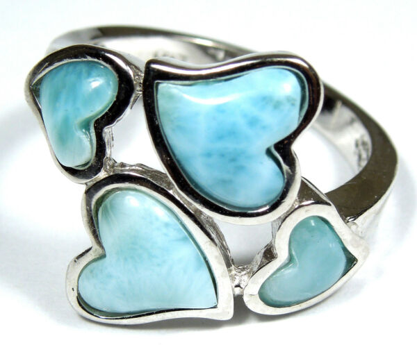 Rare AAA Genuine Larimar Inlay Solid 925 Sterling Silver Heart Ring Size 6789