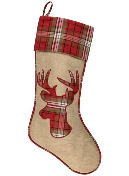 Sullivans 19quot; Linen Burlap and Plaid Christmas Stocking Stag Reindeer Applique