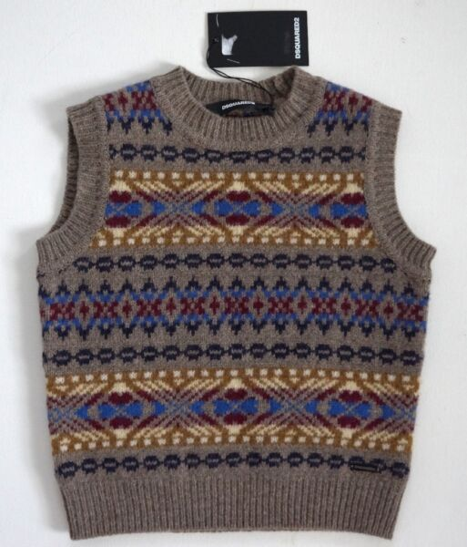 $205 NEW Authentic DSQUARED2 KIDS 100% WOOL Knitted VEST Sleeveless Sweater 8Y $90.00