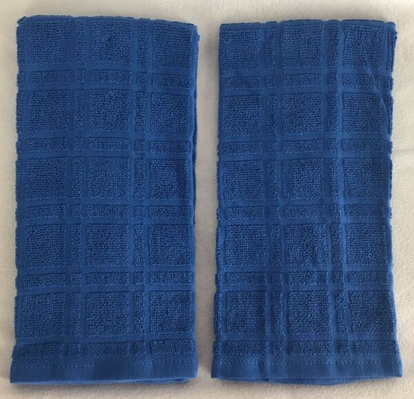 2 Solid ROYAL BLUE Plaid Windowpane Terry Cloth Kitchen Towels 16