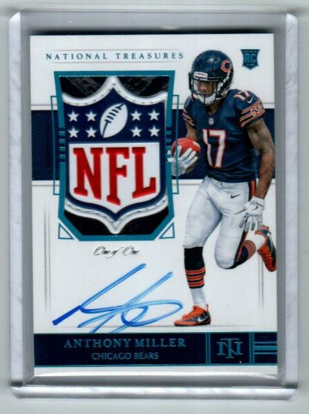 2018 NATIONAL TREASURES ANTHONY MILLER AUTO NFL SHIELD PATCH TRUE RC #11 BEARS!